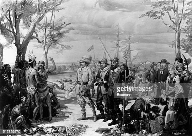 A painting of the arrival of Swedish immigrants to Delaware Colony in ca 1638 Native American peoples greet the Swedes as they come ashore Undated...
