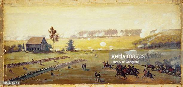 Painting of the Battle of Gettysburg by Edwin Forbes