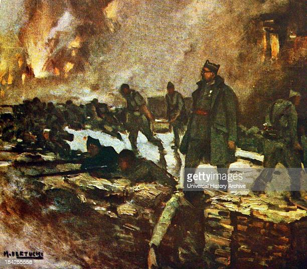 Painting of the battlefield Showing soldiers in trenches surrounded by fire and explosions Living and dead soldiers alike Artist unknown Circa early...