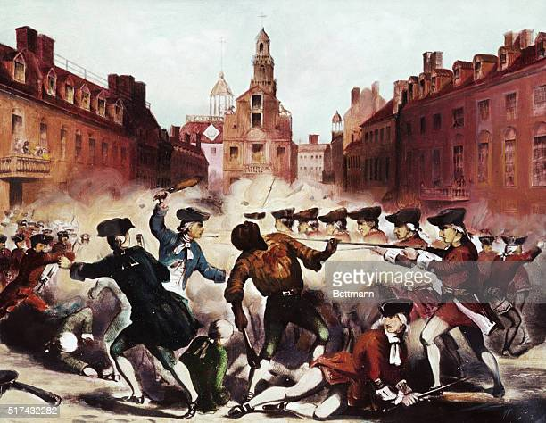 Painting of the Boston Massacre showing Crispus Attucks one of the leaders of the demonstration and one of the five men killed by the gun fire of the...