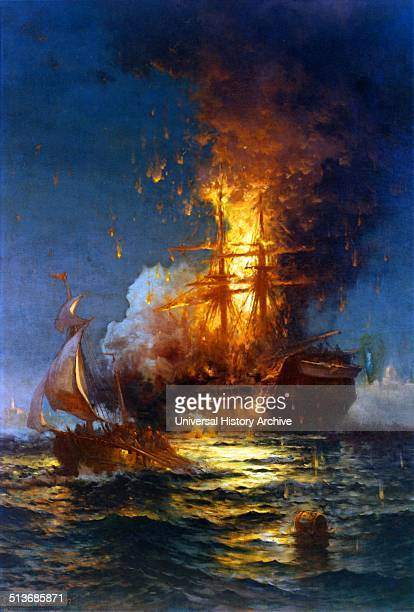 Painting of the burning of the Frigate Philadelphia in the Harbour of Tripoli Dated 1804