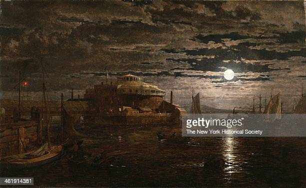Painting of the Castle Garden at night with moon reflecting onto the water of New York Harbor 1859