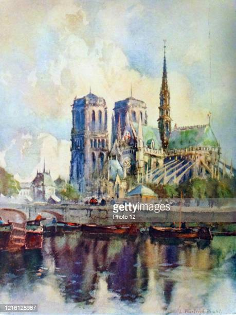 Painting of The Cathedral of Notre-Dame, a historic Catholic cathedral on the eastern half of the Ile de la Cite in the fourth arrondissement of...