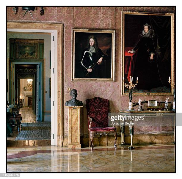 Painting of the Duke of Berwick by Kneller is photographed in the Estuardo room of the Palacio de Liria for Vogue Espana on March 15-17, 2010 in...