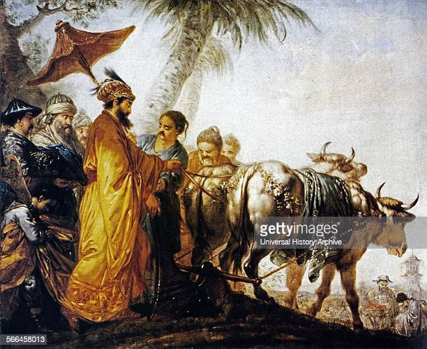 Painting of the Emperor of China Opening the First Furrow in Honour of Land Cultivation Painted by Bernhard Rode Dated 1770
