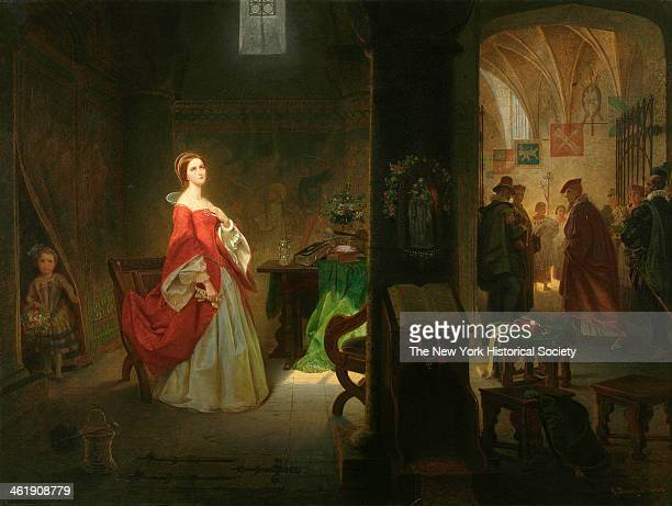 Painting of the future Elizabeth I after her interrogation in the Tower of London, where she was held by her half sister, Queen Mary, in 1854, 1860.