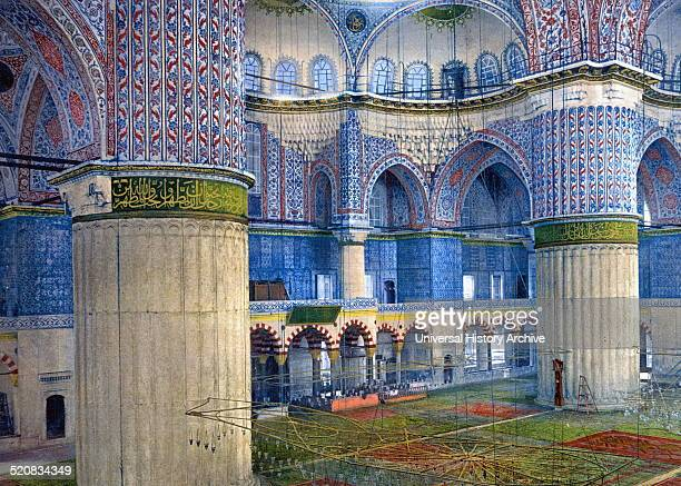 Painting of the interior of the Mosque of Sultan Ahmed I A historic mosque in Instanbal Turkey Dated 17th Century