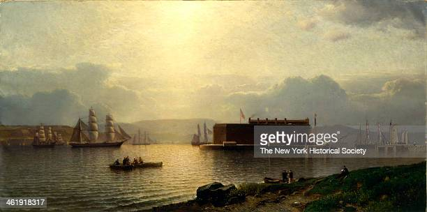 Painting of the Narrows and Fort Lafayette, Ships Coming Into Port, New York Harbor, 1868.