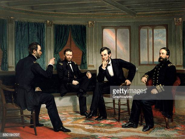 Painting of The Peacemakers showing Sherman Grant Lincoln and Porter aboard the River Queen March 27th28th 1865