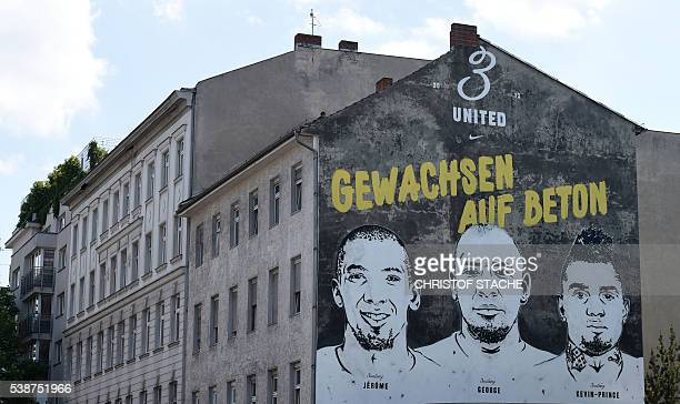 A painting of the three Boateng brothers football player Jerome Boateng musician and football player George Boateng and football player KevinPrince...