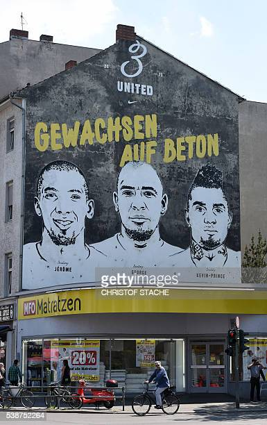 A painting of the three Boateng brothers football player Jerome Boateng musician and football player player George Boateng and football player...