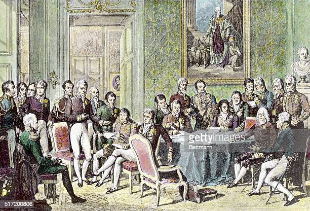 Painting of the Vienna Congress held after the Napoleaonic Wars in 1814 to decide the reconstruction of Europe Painting shows the delegates seated...