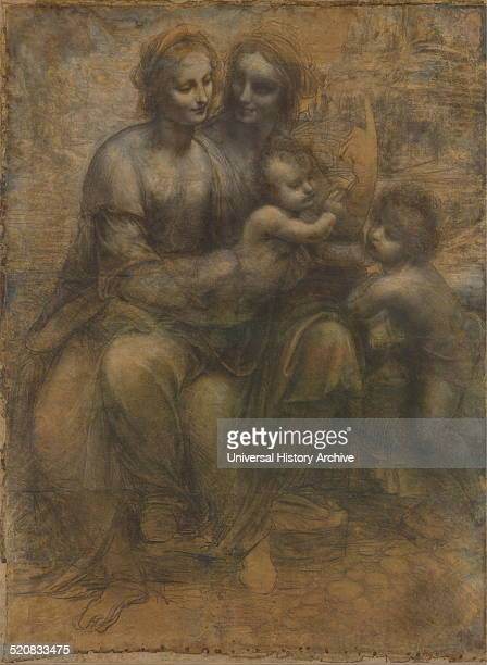 Painting of The Virgin and Child with Saint Anne and John the Bapitist Painted by Leonardo da Vinci Italian Renaissance polymath painter sculptor...