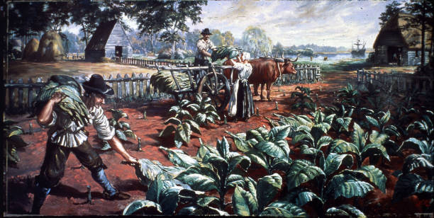 Painting of three farm workers harvesting tobacco leaves...