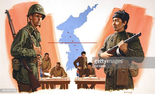A painting of US/UN and North Korean soldiers and armistice negotiators in 1953 in the demilitarized zone border town of Panmunjom Korea