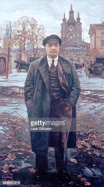 A painting of Vladimir Lenin in front of the Smolny Institute by Isaak Brodsky before 1925