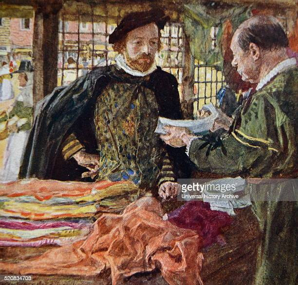 Painting of William Shakespeare English poet playwright and actor visiting a Mercer's and buying himself one of the new falling collars which are...