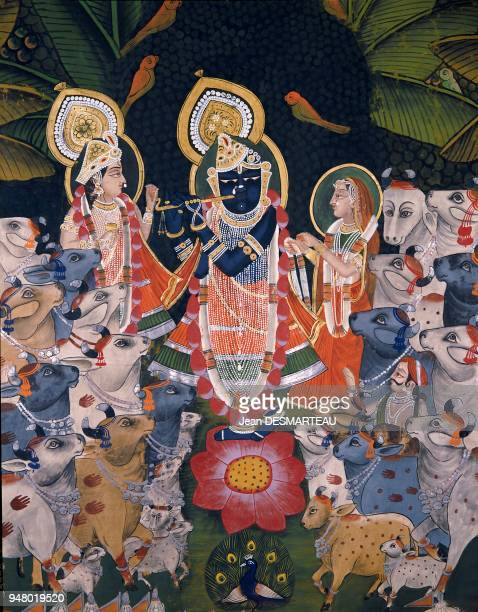 Painting on canvas representing a famous mythological scene linked to KRISHNA an avatar of the Hindu god VISHNU KRISHNA plays the flute among Gopis...