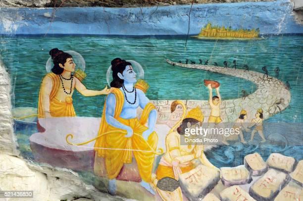 Painting on the wall at ranikhet, uttaranchal, India, Asia
