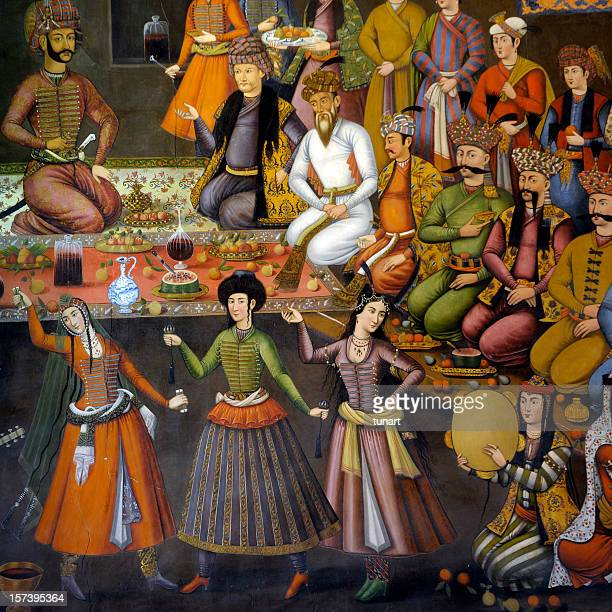 painting on the wall of chehel sutun pavillion, isfahan, iran - iranian culture stock pictures, royalty-free photos & images
