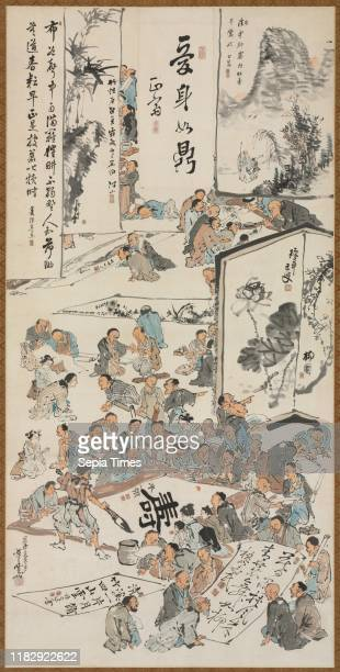 Painting Party, 1880. Kawanabe Kyosai . Hanging scroll; ink and color on paper; painting only: 139 x 69 cm ; including mounting: 221 x 97.5 cm .