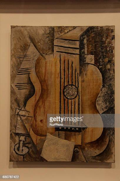 Painting quotGuitare J'aime Evaquot by Pablo Picasso Oil on canvas At the Pablo Picasso exhibition held in Rio de Janeiro File image produced on...