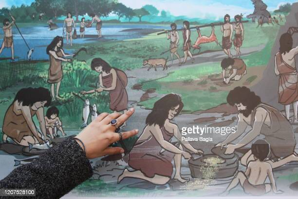 A painting recreating the ancient kitchen and hearth of The Indus Valley Civilisation on February 20 2020 in New Delhi India What did humans eat 5000...