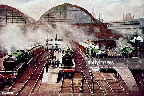 Painting reproduced in 'The Railway Magazine' with the inscription 'The morning rush from King's Cross to the North LNER 1015 Leeds Express 105...