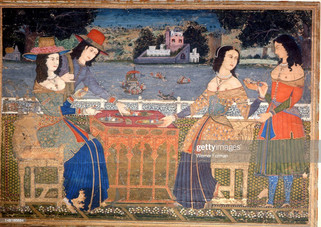 A painting showing European ladies wearing clothes made from Indian textiles : News Photo
