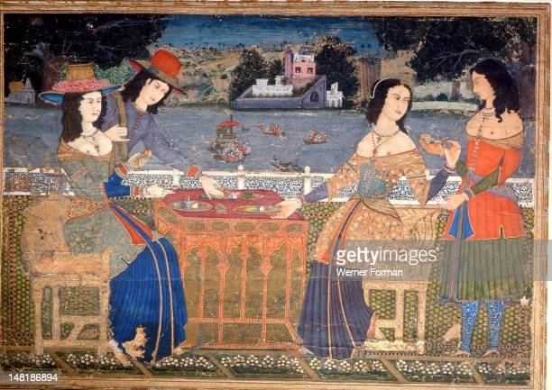 A painting showing European ladies wearing clothes made from Indian textiles The Indian maid servant wears a similar dress along with the traditional...