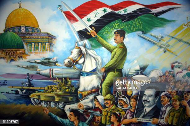 A painting showing President Saddam Hussein in his military outfit on a white horse leading Arab troops into Jerusalem with its Dome of the Rock...