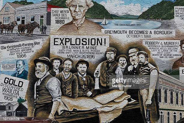 A painting showing the history of the Greymouth District on a building in the town on November 25 2010 in Greymouth New Zealand Families were...