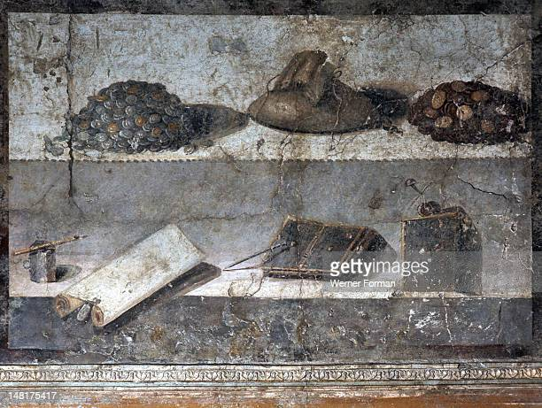 Painting Still Life writing materials and money Italy Roman 1st century AD Pompeii