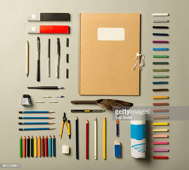 painting supplies shot knolling style. - art and craft equipment stock pictures, royalty-free photos & images