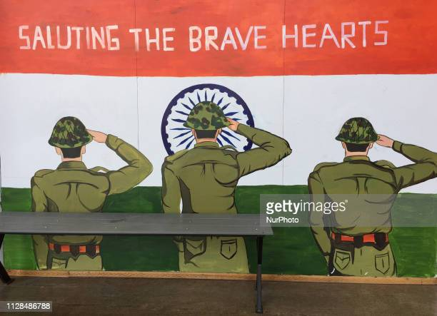 Painting supporting the Indian Army and those killed following the 2019 Pulwama terrorist attack seen in the city of Thiruvananthapuram Kerala India...