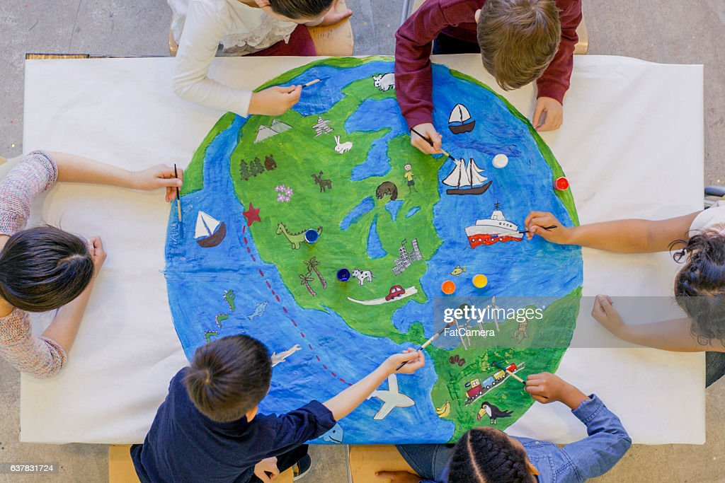 Painting the World Together : Stock Photo