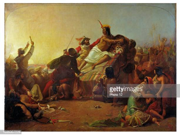 Painting tilted Pizarro Seizing the Inca of Peru by John Everett Millais English painter and illustrator who was one of the founders of the...