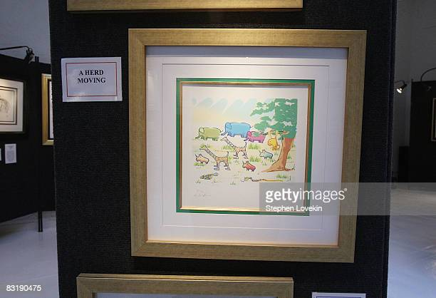 A painting titled 'A Herd Moving' by John Lennon seen at the press preview for 'Imagine Peace A Look into John Lennon's Life Through His Artwork' at...