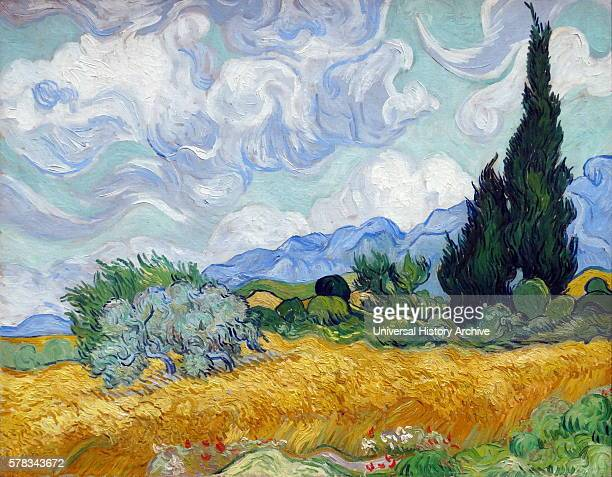 Painting titled 'A Wheatfield with Cypresses' by Vincent Willem van Gogh a Dutch postImpressionist painter Dated 19th Century