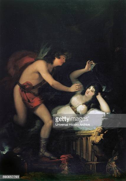 Painting titled 'Allegory of Love, Cupid and Psyche' by Francisco Goya Spanish romantic painter and printmaker regarded as the last of the Old...