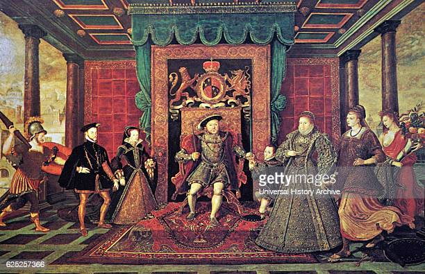 Painting titled an allegory of Tudor succession showing Mary I of England and her husband King Philip II of Spain next to him is the God Mars King...