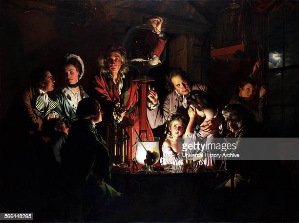 Painting titled 'An Experiment on a Bird in the Air Pump' painted by Joseph Wright English landscape and portrait painting Dated 1768
