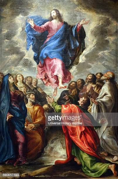 Painting titled 'Ascension' depicting the ascension of Christ By Francisco Camilo Spanish painter Dated 17th Century