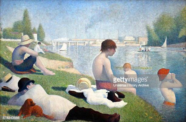 Painting titled 'Bathers at Asnieres' by GeorgesPierre Seurat a French postImpressionist painter and draftsman Dated 19th Century