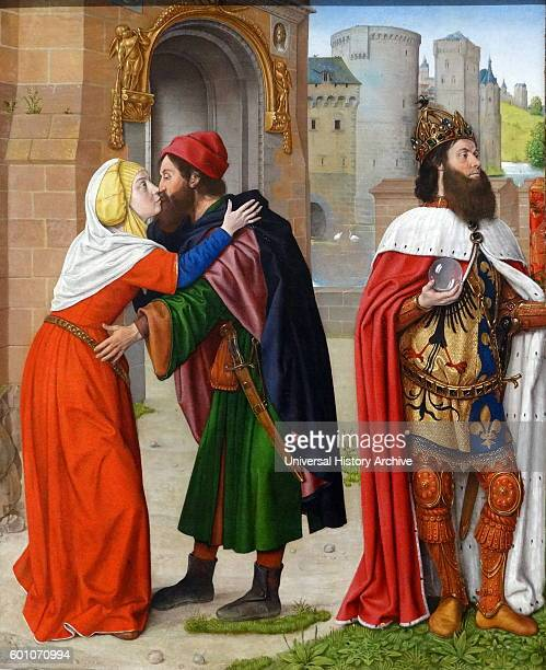 Painting titled 'Charlemagne and the Meeting at the Golden Gate' by Jean Hey an Early Netherlandish painter Dated 15th Century