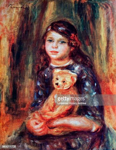 Painting titled 'Child with a Teddy' by Pierre-Auguste Renoir a French artist of the Impressionist style. Dated 20th Century.