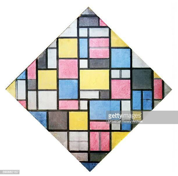 Painting titled 'Composition with Grid VII' by Piet Mondrian Dutch painter He was a contributor to the De Stijl art movement and group which was...