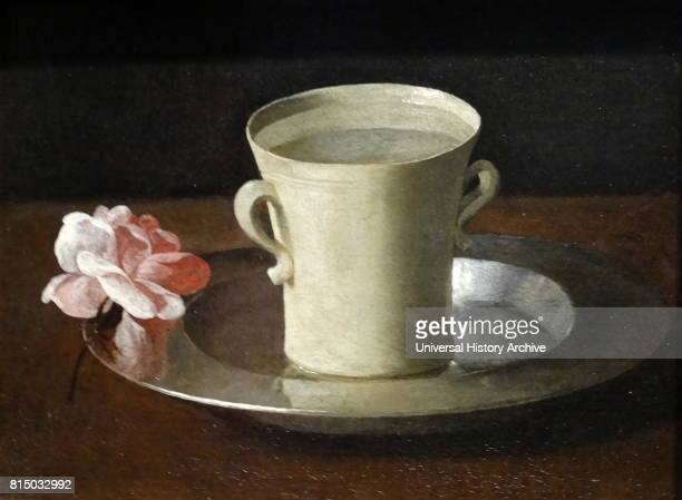 Painting titled 'Cup of Water and a Rose on a Silver Plate' by Francisco de Zurbaran a Spanish painter best known for his religious paintings and...