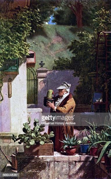 Painting titled 'Der Pfarrer als Kateenfreund' Painted by Carl Spitzweg German romanticist painter and poet Dated 1870