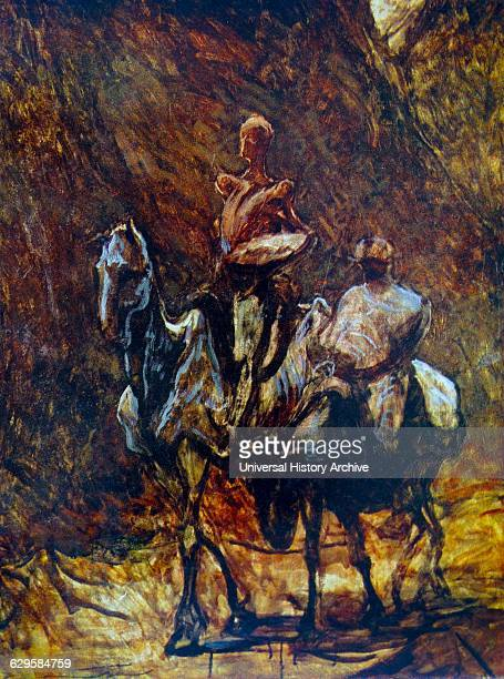 Painting titled 'Don Quixote and Sancho Panza' by Honoré Daumier a French printmaker caricaturist Painter and sculptor Dated 19th Century